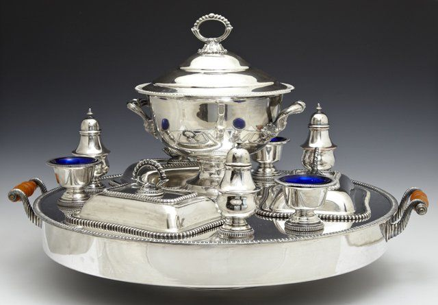 Ten Piece Silver Plated Copper Supper Set, early 20th
