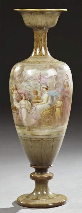 Unusual Tall Art Nouveau Baluster Footed Vase, c. 1890,