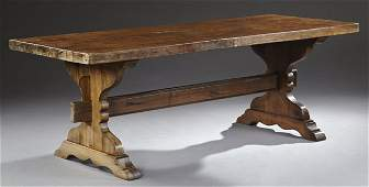 French Provincial Carved Oak Farm Table, mid 19th c.,