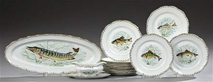 Fourteen Piece Limoges Porcelain Fish Set, 20th c.,
