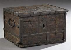 Diminutive Wrought Iron Clad Carved Oak Strong Box,