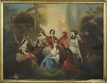 "French School, ""Garden Scene,"" early 19th c., oil on"