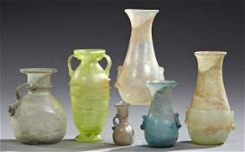 Group of Six Ancient Roman Style Glass Vases, 20th c.,