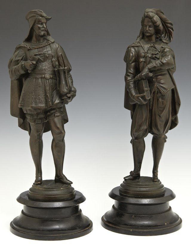 Pair of Patinated Spelter Figures, 19th c., of medieval