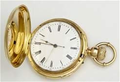 18K Yellow Gold Swiss Quarter Hour Repeater Hunting