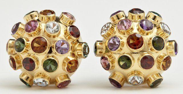 Pair of Unusual 18K Yellow Gold Clip Earrings, of
