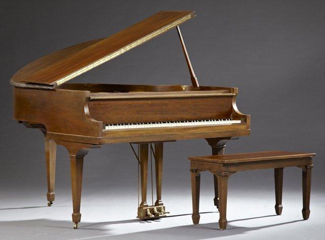 Bradbury Carved Mahogany Baby Grand Piano, New York, c.