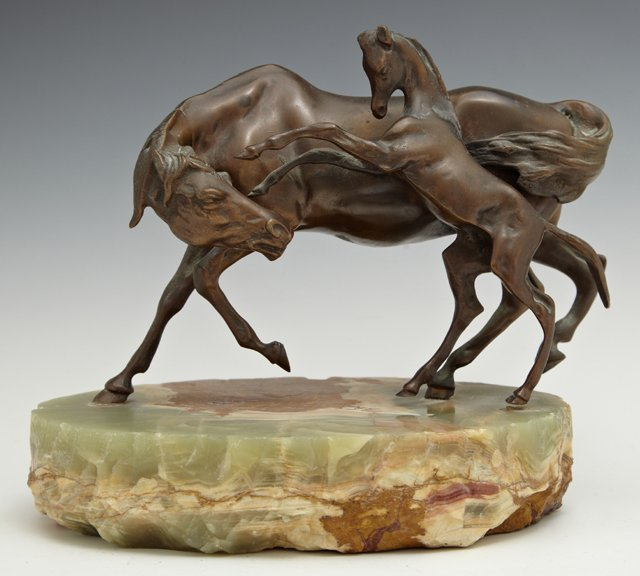 Patinated Bronze Figural Group of a Horse and a Foal,