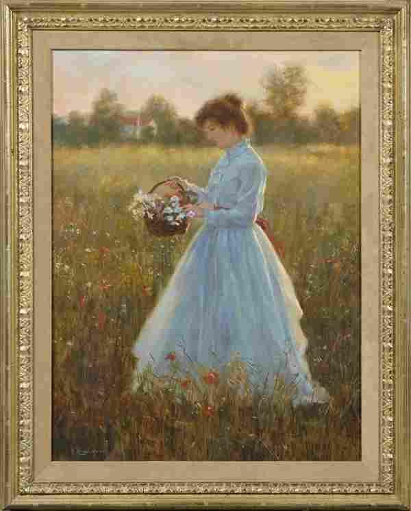 "Gregory F. Harris (1950- , California), ""Woman Picking"