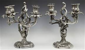 Pair of Fine French Art Nouveau Silverplated Four Light
