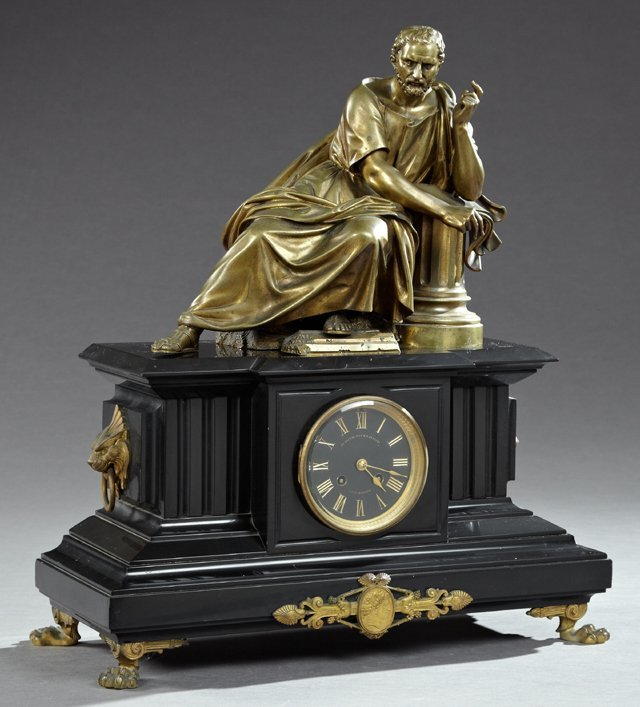 French Marble and Bronze Mantel Clock, 19th c., time