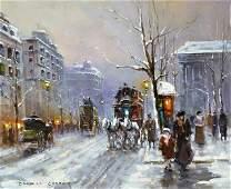 """Edouard Leon Cortes (1882-1969), """"Winter, Place de la M"""