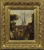 """French School, """"River Scene in a French City,"""" 19th c.,"""