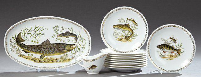 Twelve Piece Ceramic Fish Set, 20th c., by Longchamps,