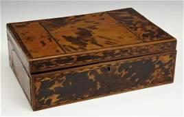 English Regency Tortoise Shell Jewelry Box early 19th
