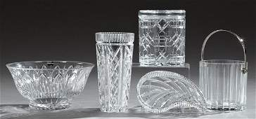 Group of Five Pieces of Cut Crystal, 20th c.,