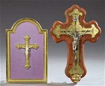 Two French Crucifixes, 19th c., one bronze and spelter