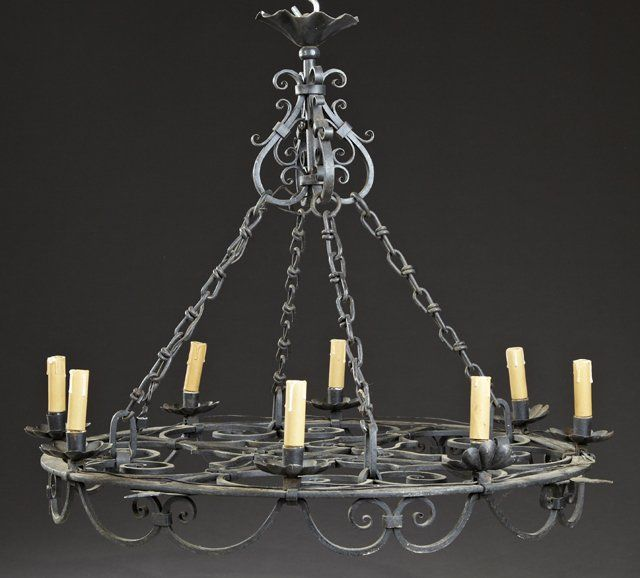 French Medieval Style Wrought Iron Eight Light