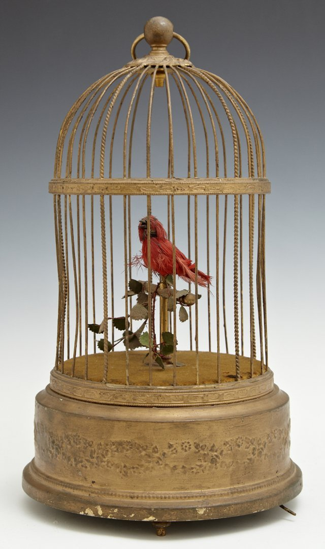 French Brass Singing Bird Automaton, early 20th c.,