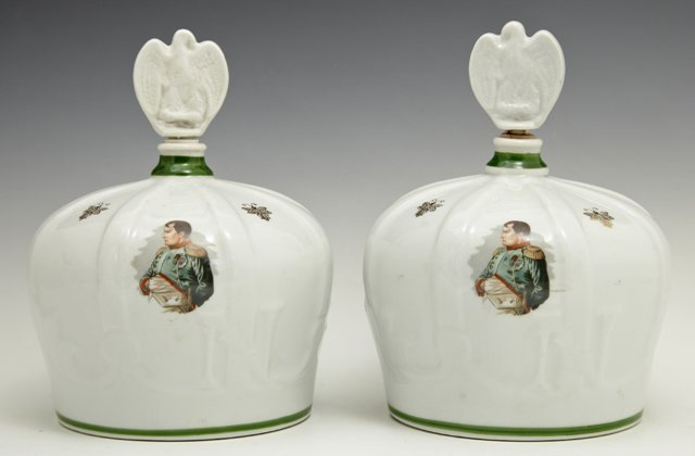 Pair of Limoges Porcelain Decanters, 20th c., of crown
