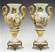 Pair of Old Paris Porcelain Style Baluster Vases 19th