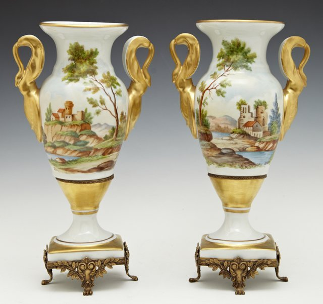 Pair of Old Paris Porcelain Style Baluster Vases, 19th