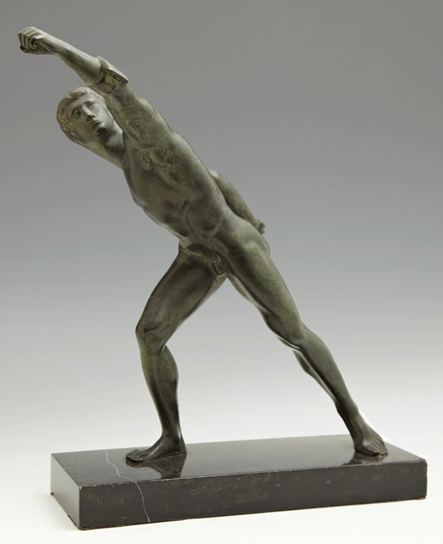 Classical Style Nude Male Patinated Bronze Figure of an