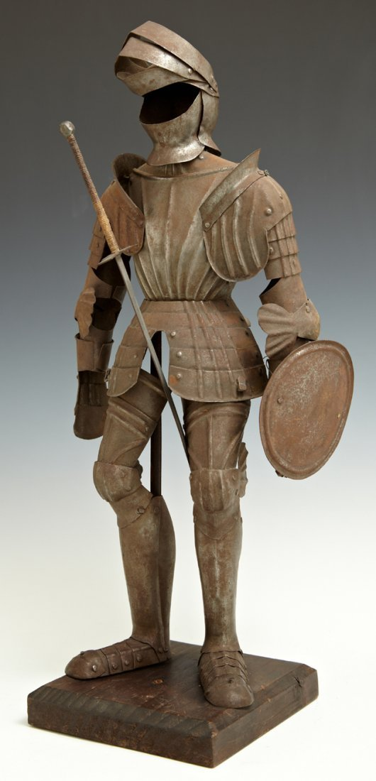 Miniature Tin Suit of Armor, late 19th c., on a wooden
