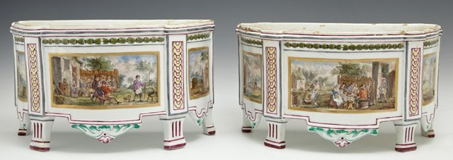 Pair of French Faience Half Planters, 18th c., by Veuve