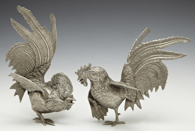 Pair of White Brass Rooster Table Garnitures, 20th c.,