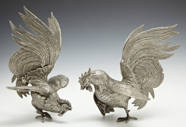 Pair of White Bronze Rooster Table Garnitures, 20th c.,