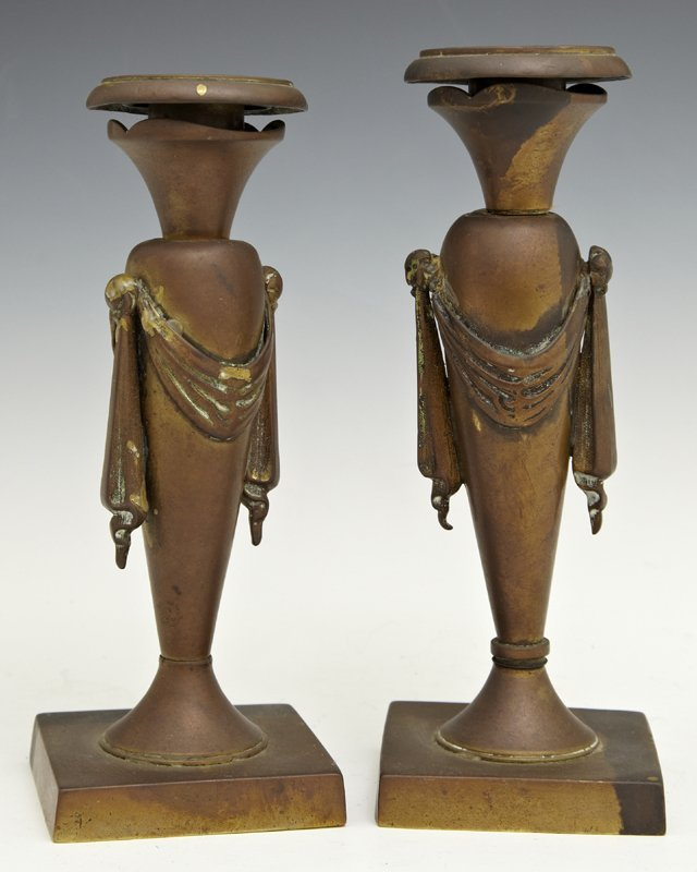 Pair of Bronze Empire Style Candlesticks, late 19th c.,