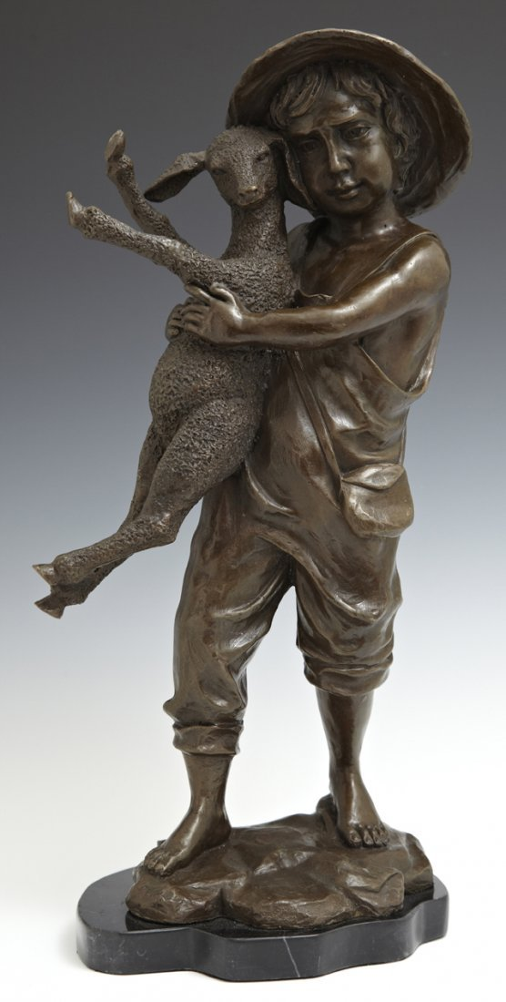 "Aldo Vitaleh, ""Farm Boy with Lamb,"" 20th c., bronze,"