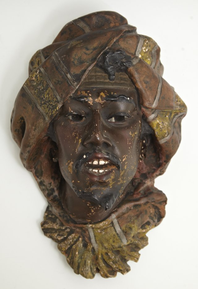 Polychromed Terracotta Relief, c. 1900, of an Moor, H.-