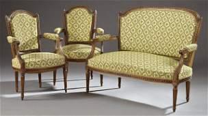 French Louis XVI Style Carved Walnut Three Piece Salon