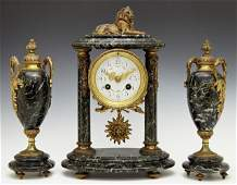 Three Piece Bronze and Verde Antico Marble Clock Set e