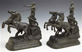 Pair of Patinated Spelter Figures of Roman Chariots,