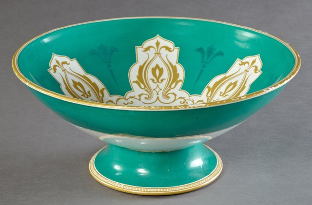 Large Old Paris Porcelain Footed Punch Bowl, 19th c.,