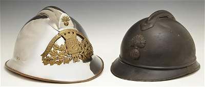 Group of Two French Helmets early 20th c one a