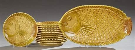 Thirteen Piece Ceramic Fish Set 20th c by