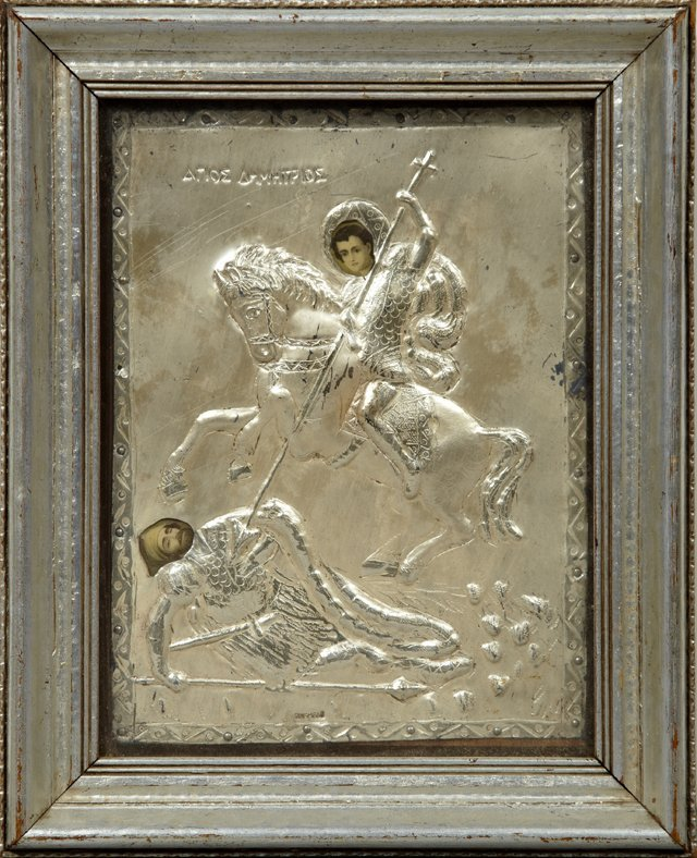 Greek Icon of St. Demetrius, early 20th c., with a ster