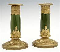 Pair of Empire Style Gilt Bronze and Porcelain