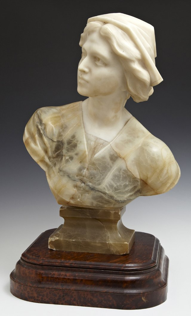 Carved Marble and Onyx Bust, c. 1900, of a country