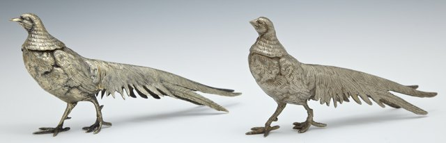 Pair of Silvered Metal Pheasant Table Garnitures, early