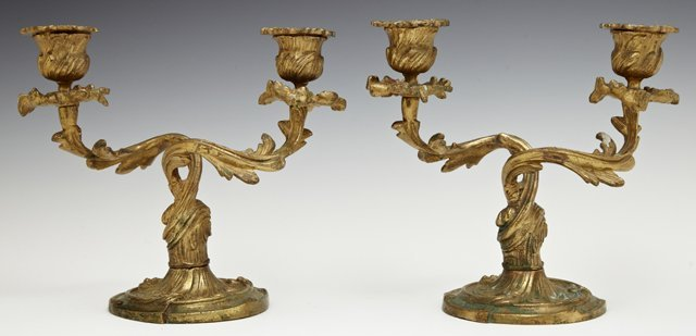 Pair of Louis XV Style Two Light Candelabra, early 20th