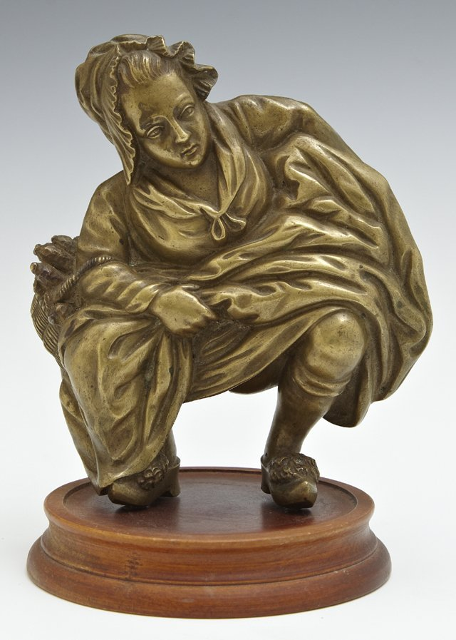 Gilt Bronze Figure of a Squatting Woman, late 19th c.,