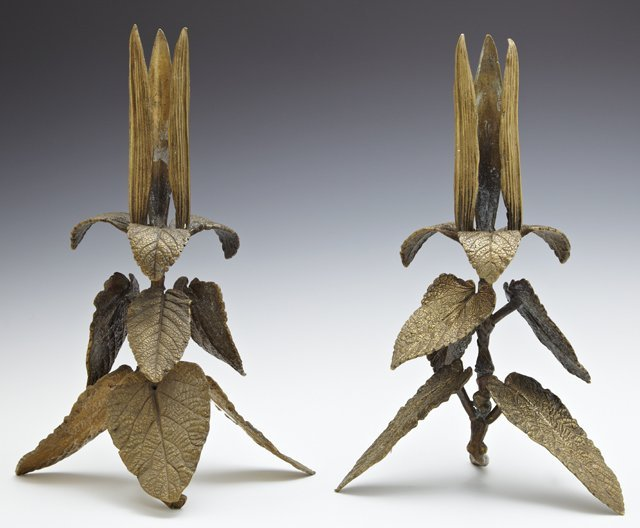 Pair of Brass Leaf Form Candlesticks, late 19th c., H.-