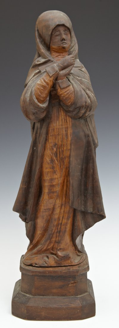 Carved Mahogany Figure of the Virgin Mary, early 20th