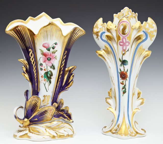 Two Old Paris Porcelain Flare Vases, 19th c., with hand