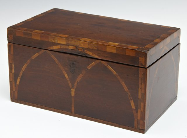 Inlaid Mahogany Tea Caddy, 19th c., the sides with